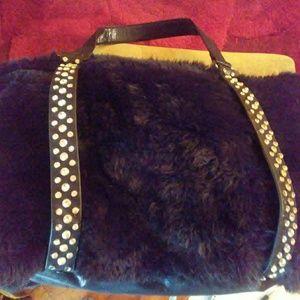 Faux fur handbag with rhinestones